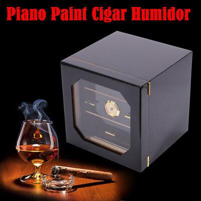 75 Cigars Wood Box Cedar Lined Cigar Storage Case Humidor Humidifier Hygrometer
