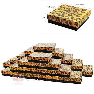 "25 LEOPARD PRINT COTTON GIFT BOXES 3 1/2"" X 3 1/2"""