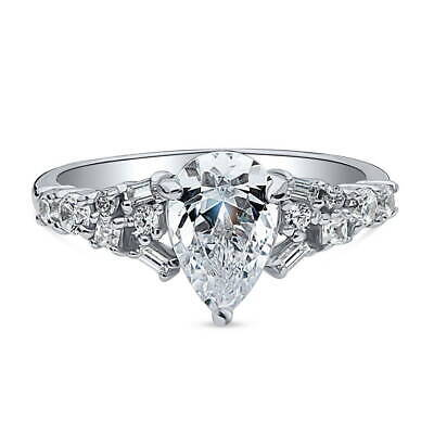 BERRICLE Sterling Silver Pear Cut CZ Solitaire Promise Engag