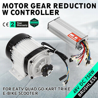 48v 750w Electric Gokart Tricycle Brushless Motor Gear Reduction W Controller
