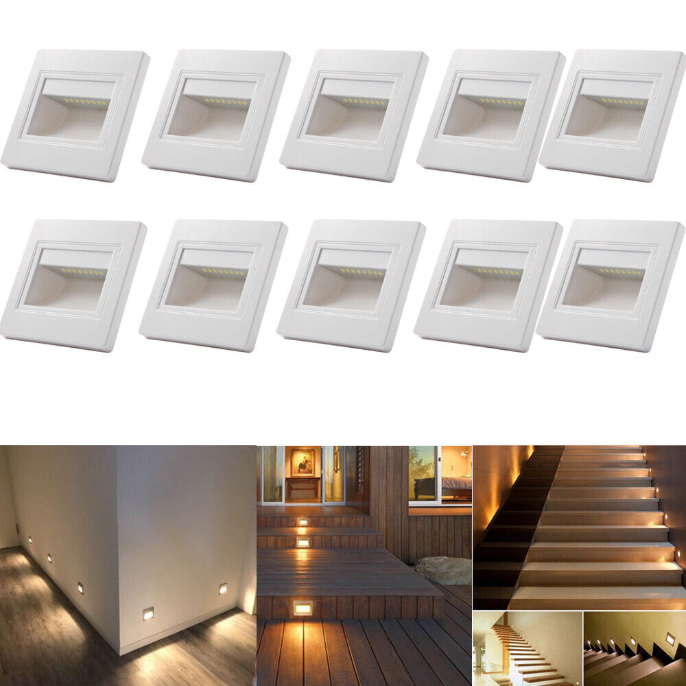 Details About 10 X 0 6w Warm White Led Wall Recessed Stair Step Lights Indoor Plinth Hall Lamp