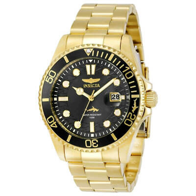 Invicta Men's Watch Pro Diver Quartz Black Dial Yellow Gold Bracelet 30026