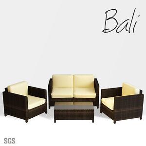 Luxo-Brown-4-Piece-Pc-PE-Wicker-Outdoor-Sofa-Lounge-Table-Furniture-Set-Setting
