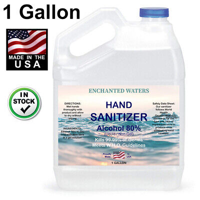 Hand Sanitizer Liquid (Non Gel) 80% Alcohol -Made USA- 1 Gallon - 24hr FREE Ship