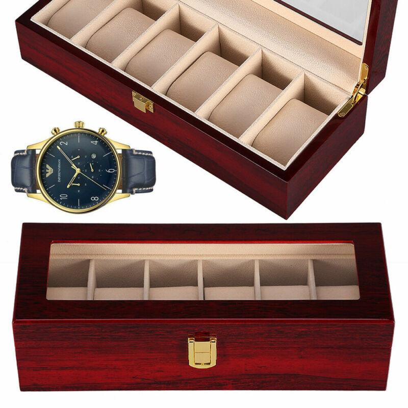 6 Slot Grids Wrist Watch Box Wooden Display Case Jewelry Storage Organizer US