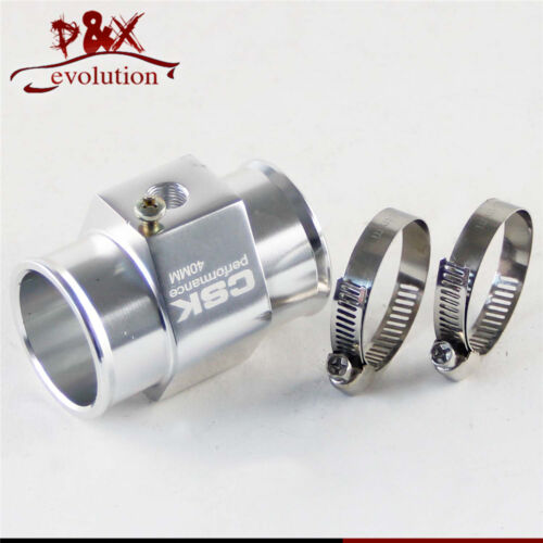 "40MM 1.57"" Water Temp Gauge Radiator Sensor Adaptor Attachment Aluminum silver"