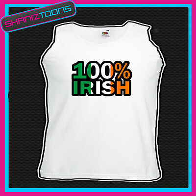 100% IRISH IRELAND ST PATRICKS DAY FLAG EMBLEM UNISEX VEST TOP