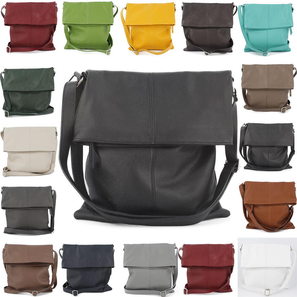 Damen Hand Schulter Umhänge Tasche Ital. Echt Leder Cross Bag Shopper NEU