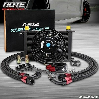 """US Universal 25 Row Engine Transmission 10AN Oil Cooler KIT+ 7"""" Electric Fan Kit"""