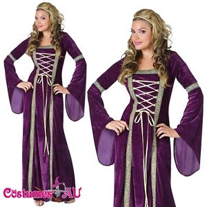 Ladies-Purple-Medieval-Renaissance-Costume-Velvet-Gown-Fancy-Dress-Lady-Outfits