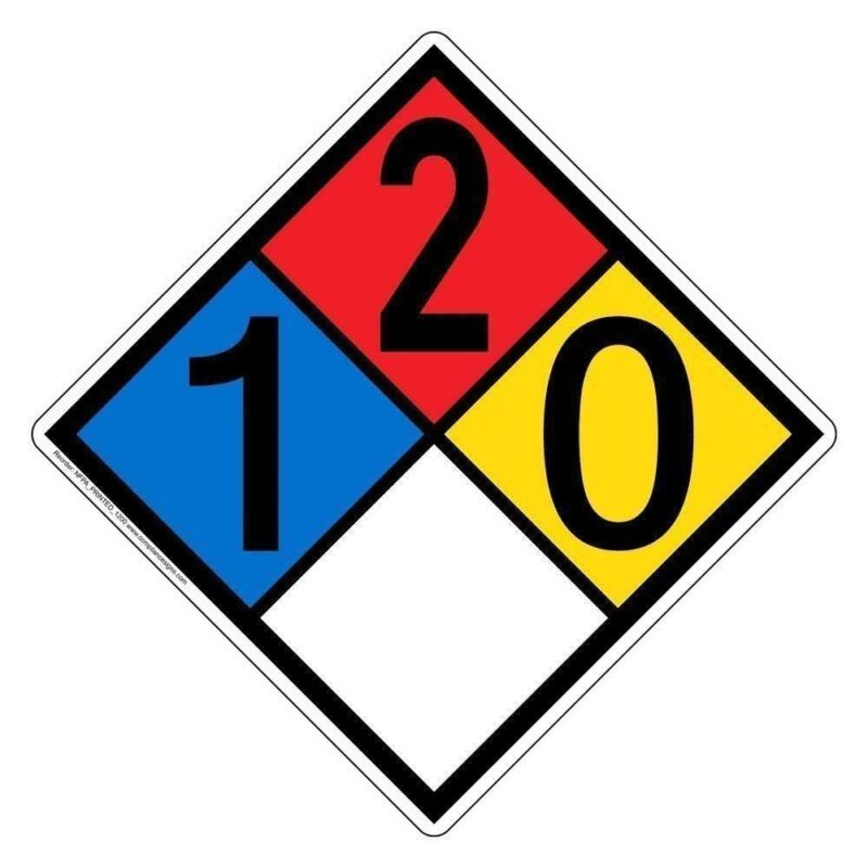 NFPA 704 1-2-0-0 Label Decal, 10 inch Vinyl for Hazmat by ComplianceSigns