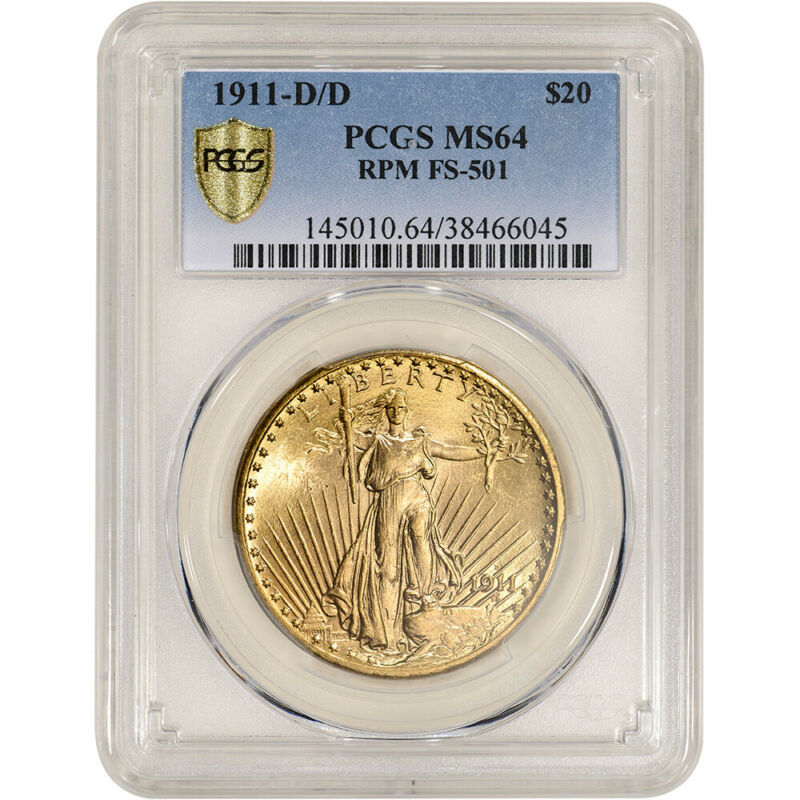 1911-D/D US Gold $20 Saint-Gaudens Double Eagle - PCGS MS64  RPM FS-501