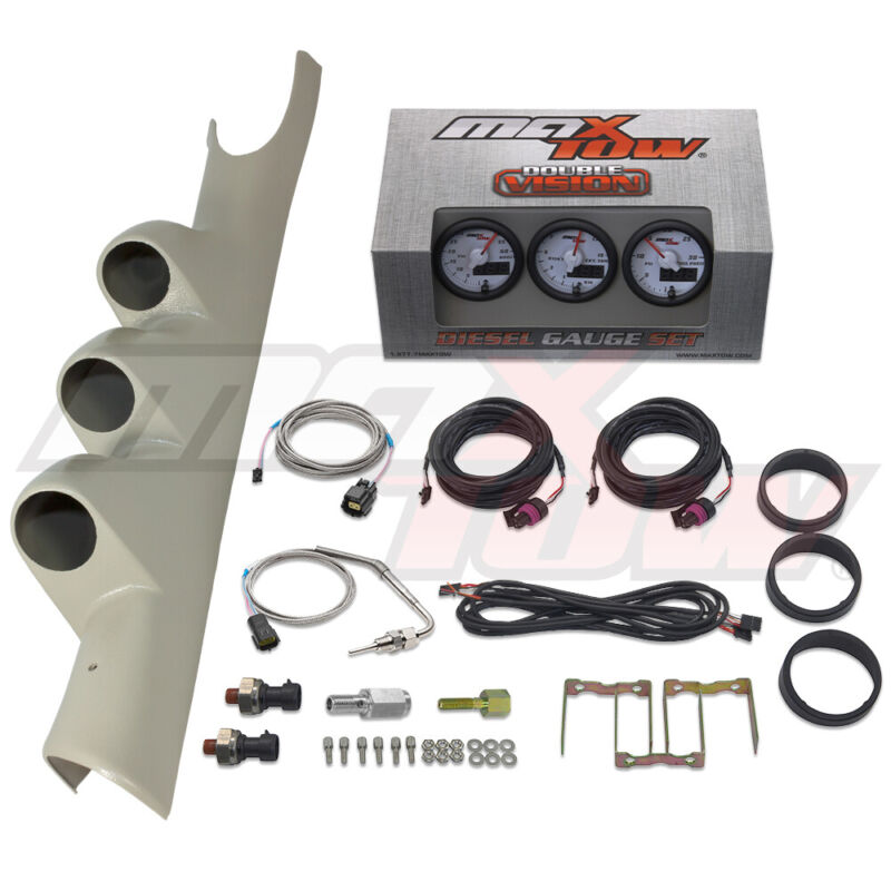 White MaxTow Boost EGT Fuel PSI Gauges + Taupe Pod for 03-09 Dodge Ram Cummins