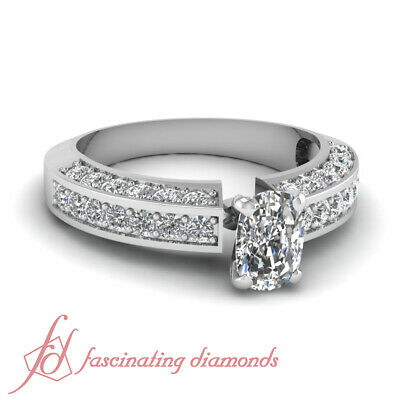 Three Fold Pave Set Engagement Ring 1.65 Ct Cushion Cut H-Color Diamond 14K GIA