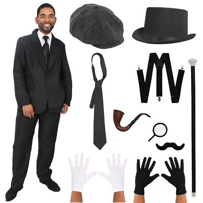 MENS BLACK SUIT COSTUME CHOICE VICTORIAN GANGSTER OLD FASHIONED FANCY DRESS - Old Gangster Suits