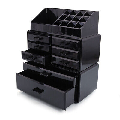 8 Drawers Acrylic Tower Organizer Cosmetic Makeup Jewelry Storage Case Black