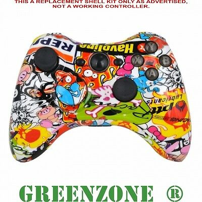 Sticker Bomb Custom Replacement Xbox 360 Controller Shell + Buttons Mod Kit