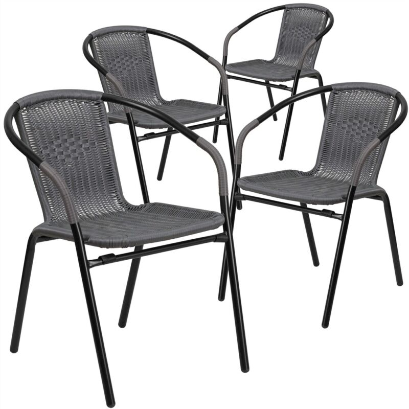 4 Pk. Gray Rattan Indoor-Outdoor Restaurant Stack Chair