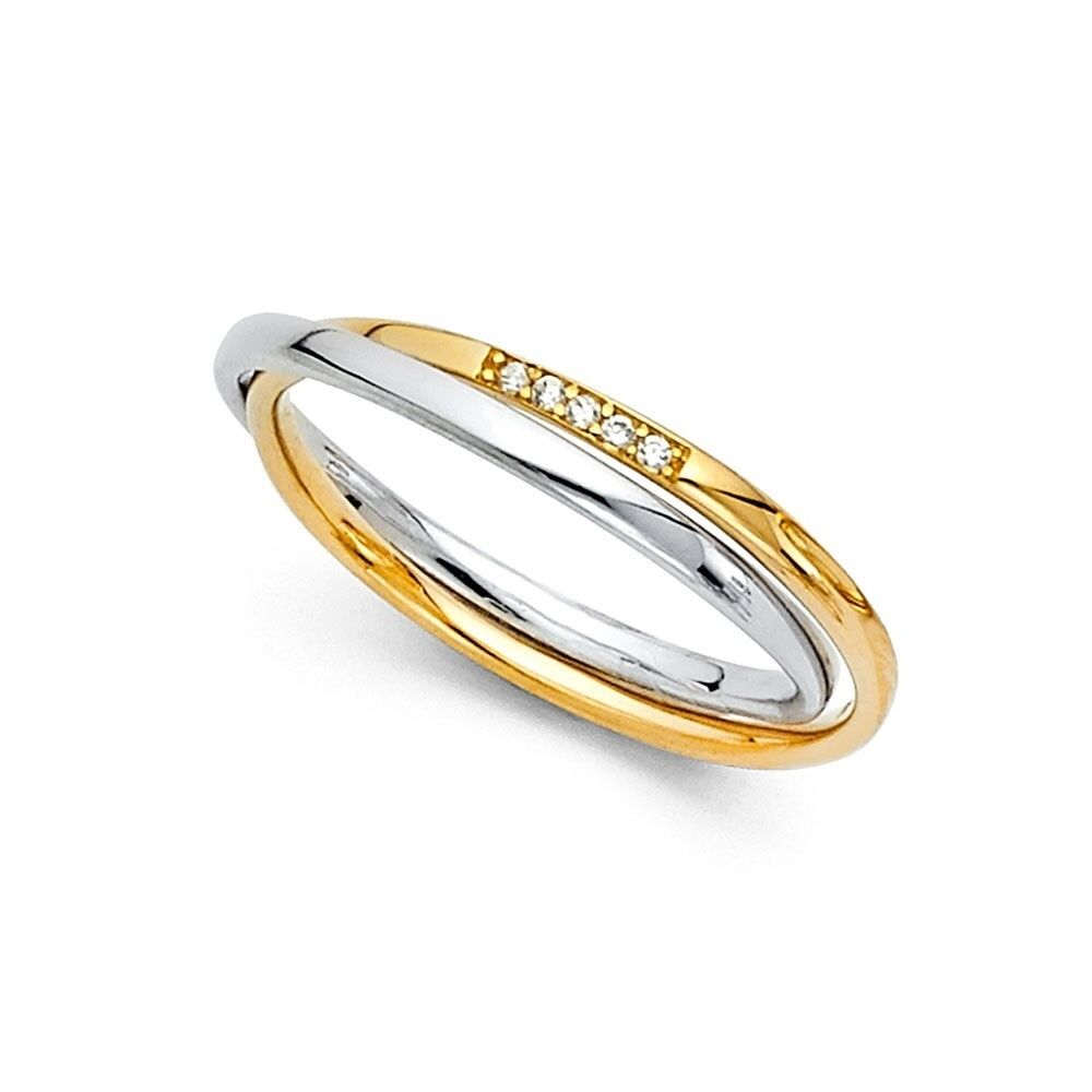 It is just a photo of Details about 44k Yellow & White Gold CZ Double Wedding Bands Anniversary 44 Band Bridal Rings