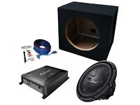 "Pioneer 10"" Single Car Subwoofer Bass Box 1200w Package, Amplifier & Wiring Kit"