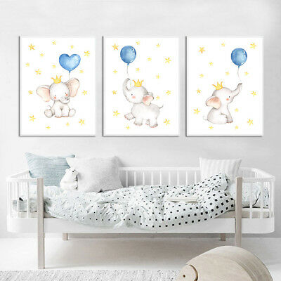 Watercolor Elephant Wall Art Canvas Poster Animal Nursery Print Baby Room Decor](Elephant Nursery Decor)