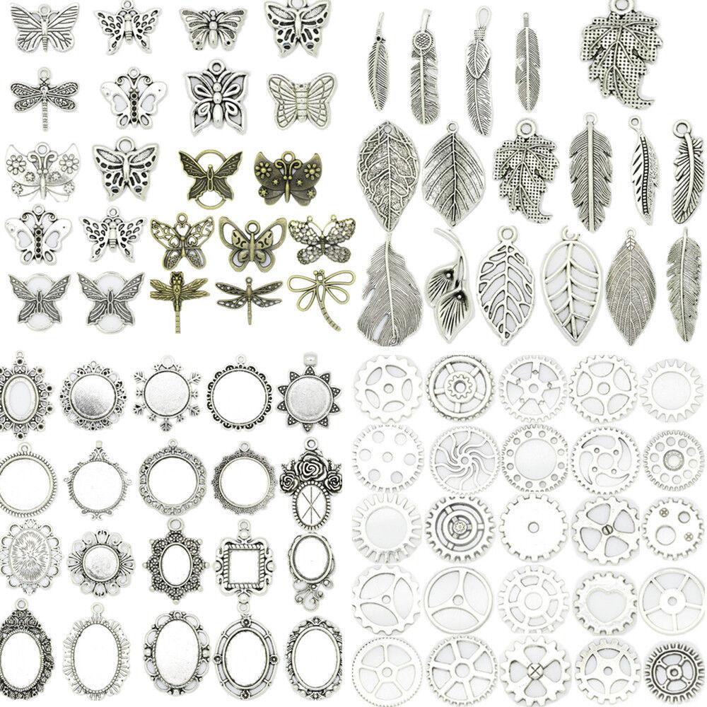 50pcs Silber Charms Sterne Anhänger Perlen für DIY Schmuck machen