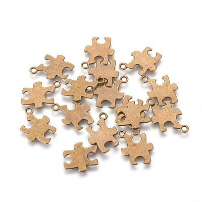 Puzzle Piece Charm (10 Puzzle Piece Charms Pendants Stamping Blank Autism Awareness Antiqued)