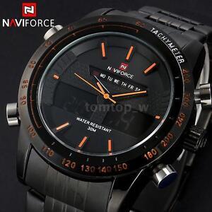 NAVIFORCE Herrenuhr Sportuhr LED Army Digitaluhr Quarzuhr Armbanduhr wasserdicht