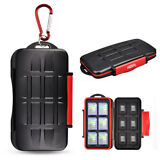 Water-Resistant Memory Card Case Storage Holder fits 12 SD +12 Micro SD TF Cards