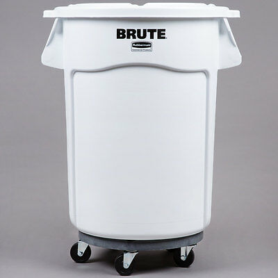 Rubbermaid Brute 44 Gallon White Ingredient Bin Trash Can Lid And Dolly Kit