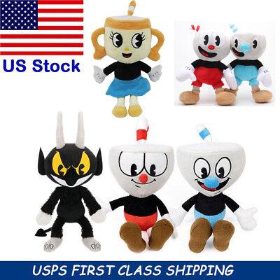 8 Inch Cuphead Game Plush Toy Ms. Chalice Cuphead Mugman Devil Boss Figure Doll