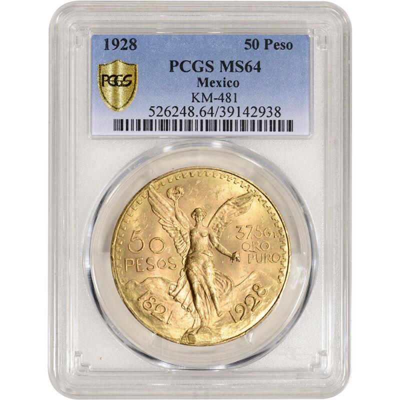1928 Mexico Gold 50 Pesos - PCGS MS64 KM-481