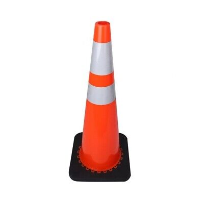 36 Orange Pvc Safety Traffic Cones Black Base Two Reflective Collars