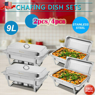 2 Pack 4 Pack Chafer Chafing Dish Sets Stainless Steel Pans Praty Buffet 9l8q