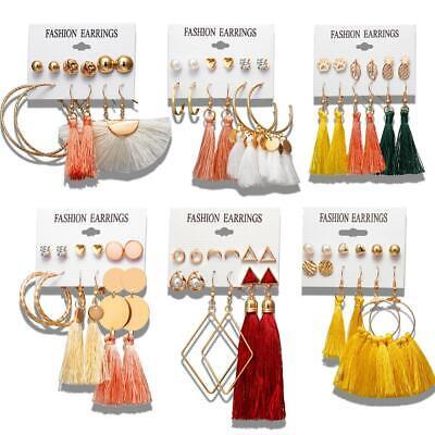 Boho Tassel Crystal Pearl Earrings Set for Women Lady Ear St