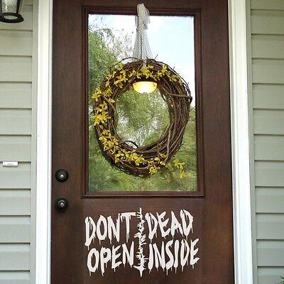 Halloween Wall Decal Door Don't Open Dead Inside Walking Dead Saying Vinyl - Halloween Open Door