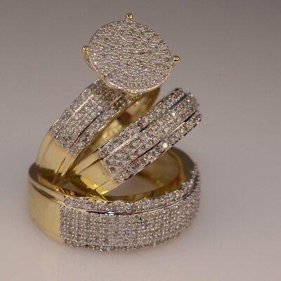 14k Yellow Gold Wedding Ring - Diamond Trio His Her Bridal Wedding Band Engagement Ring Set 14k Yellow Gold Fn