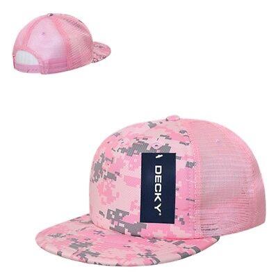 (Pink Digital Camo Camouflage Foam Flat Bill Military Trucker Baseball Cap Hat)