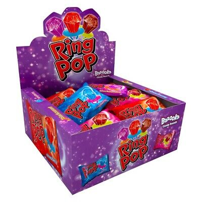 Ring Pop Full Box Of 24 15g Packs Raspberry, Strawberry & Cola Flavour