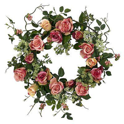 Nearly Natural 20 in. Rose Wreath, Peach