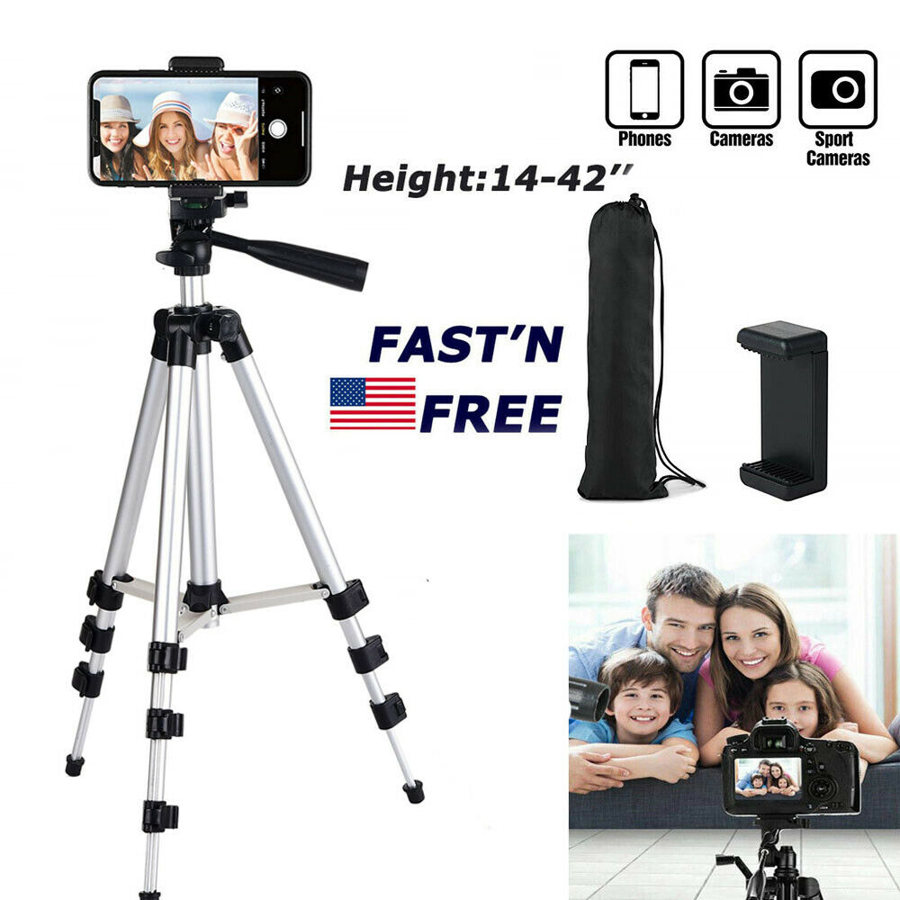 Professional Camera Tripod Stand With Phone Holder Mount Adjustable Height Cameras & Photo
