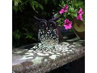 Solar Power Metal Owl Scroll Light by Smart Garden - Brand New