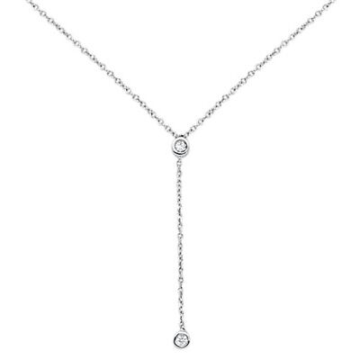 .06cts G SI 14kt White Gold Round Diamond Drop Lariat Pendant Necklace 18