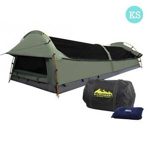 AUS FREE DEL-King Single Camping Canvas Swag Tent Celadon, Pillow Sydney City Inner Sydney Preview