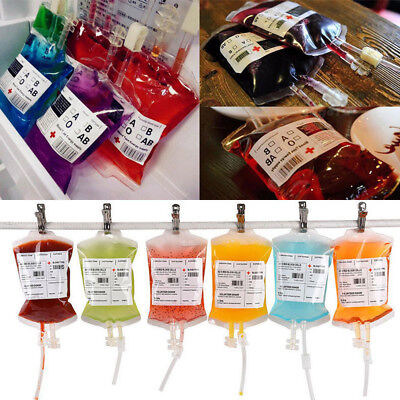 1PC Reusable Blood Bag Drink Bag Halloween Vampire Party Prop Drink Container (Blood Bags)