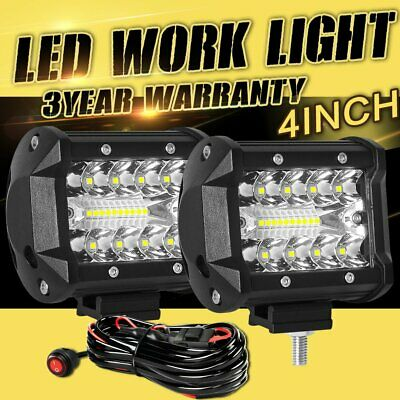 CREE LED Combo Work Light Flush Bar Pod Driving Lamp 4inch 2pcs 12V +Wiring Loom