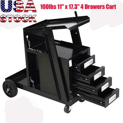 Welding Welder Cart Mig Tig Arc Plasma Cutter Tank Storage W4 Drawer Cabinet Us
