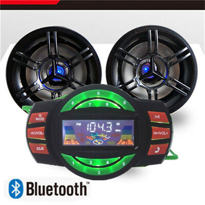 Motorcycle Bluetooth Handfree Audio System Fm Radio Stereo Amplifier Speaker Us