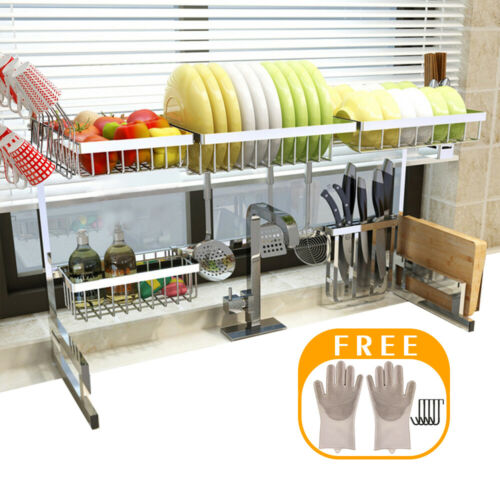 Stainless Steel 2-Tier Dish Drying Rack Over Sink Kitchen Dr
