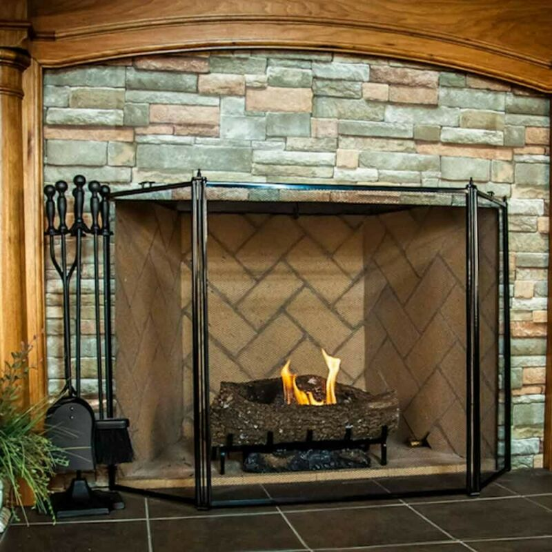 3 Fold Fireplace Screen - Black - Less than Perfect